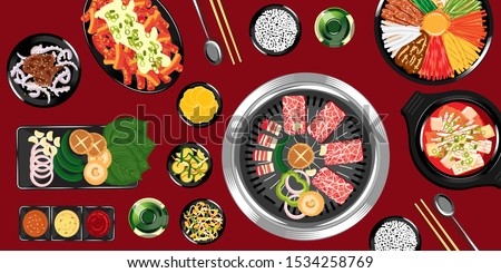 Top view of traditional korean food on a wooden table vector Illustration, Delicious korean BBQ grill with all small side dishes set, beef and pork korean barbecue, asian food background, sharing food