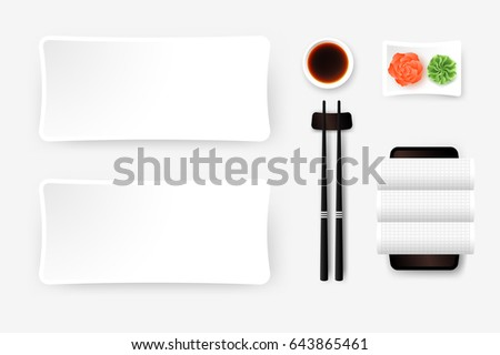 Top View Of White Empty Sushi Plate With Saucer, Ginger, Wasabi, Towel And Chopsticks. Vector Template, Food Design Element.