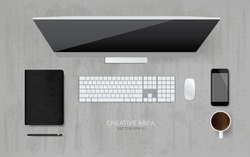 Top view of working space area and office object set. - Computer, keyboard, mouse, smartphone, coffee cup, notebook and pencil on grunge concrete texture background. Vector illustration.