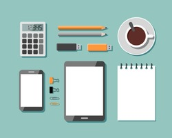 Top View of Workplace with Business Work Flow Items and Gadgets. Flat design vector illustration