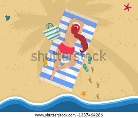 Top View of Young Woman in Bikini Lying on Belly at Colorful Beach Towel Under Palm Tree. Summer Vacation, Traveling, Relaxing Attractive Girl on Sea Side, Ocean Coast Cartoon Flat Vector Illustration