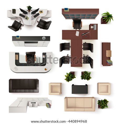 Top View Office Interior Elements  Realistic Vector Illustration