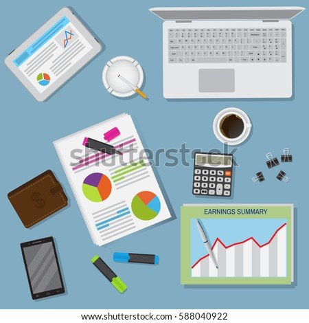 Top view office table workspace organization including laptop, tablet and stationery. Flat style vector illustration..