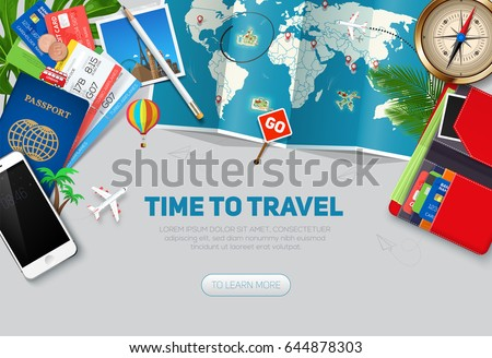 Top view on travel and tourism concept template, ready for summer banners design. Vector illustration