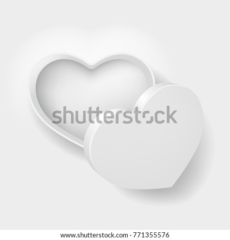 top view open white heart shape