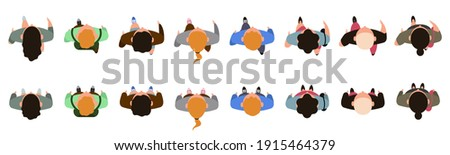 Top view people characters. Men and women character walking animation, people view from above. Male and female people walk vector illustration set. Woman man top view move walking
