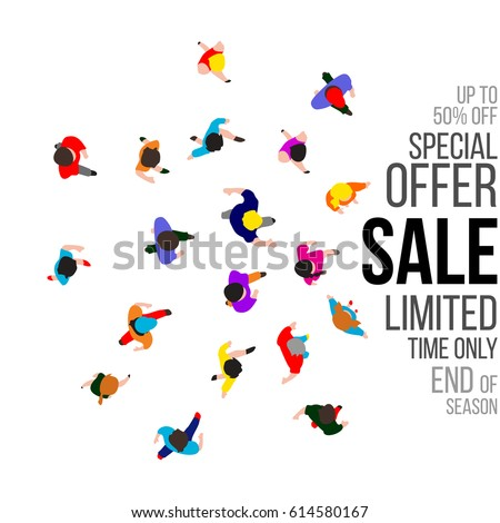 Top view people on sale event. Banner for retail promotions. Vector illustration.