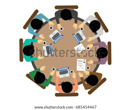 top view people  working group