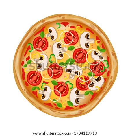Top view pizza with various ingredients. Whole pizza with mushrooms, tomatoes, onions, peppers and cheese. Italian pizza