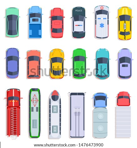 Top view public transport. Taxi and police car, city bus and ambulance vehicle. Delivery truck, train and fire engine flat vector set. Fire autotruck, train vehicle, automobile top view illustration
