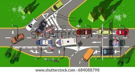 top view road incident with