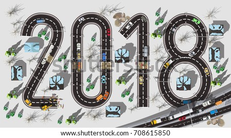 top view road with 2018 figures