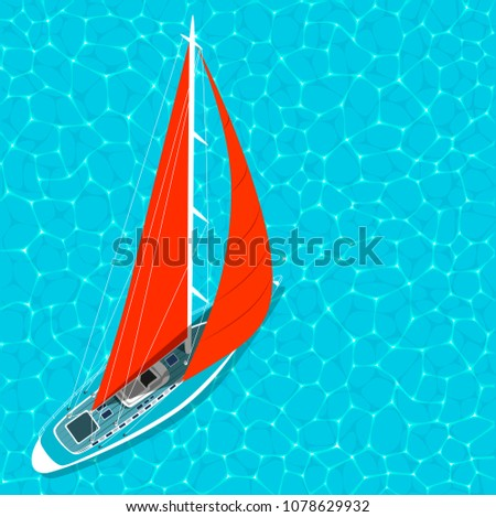 Top view sail boat on water poster. Luxury yacht race, sea sailing regatta poster vector illustration. Nautical worldwide yachting or traveling promotion layout.
