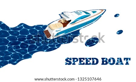 top view speed boat on water