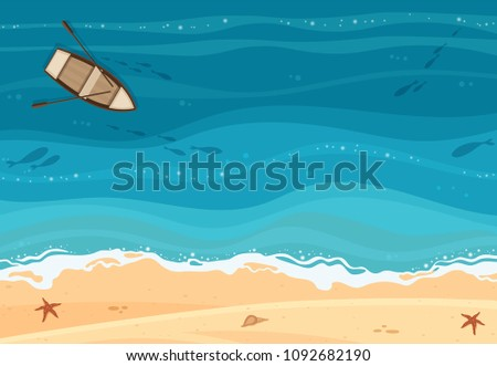 Stock Photo Top view tropical blue sea, sand beach and a wooden boat vector background.
