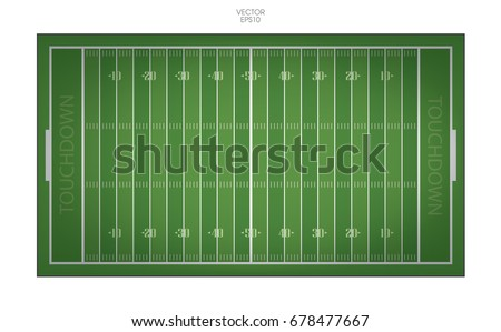 Top views of american football field. Vector green grass pattern for sport background.