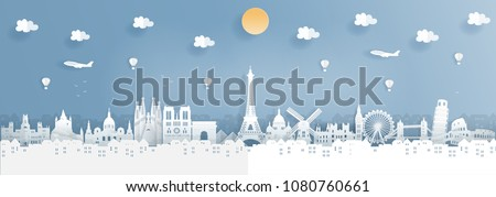 Top world famous landmark for travel poster and postcard, France,England,Spain,Italy in paper origami style vector illustration. #1080760661