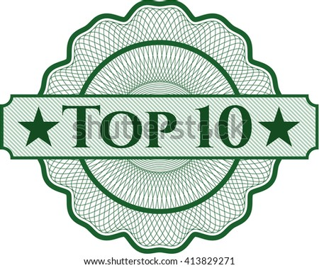 Top 10 written inside a money style rosette