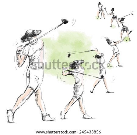 Topic: GOLF (Complex motion, Golf swing). An hand drawn illustration converted into vector. Vector is easy editable in layers and groups.