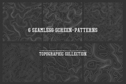 topographic lines seamless patterns vector collection, high quality tileable backgrounds