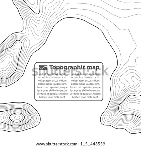 Topographic map background. Grid map. Contour. Vector illustration.