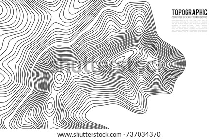 Topographic map contour background. Topo map with elevation. Contour map vector. Geographic World Topography map grid abstract vector illustration . #737034370