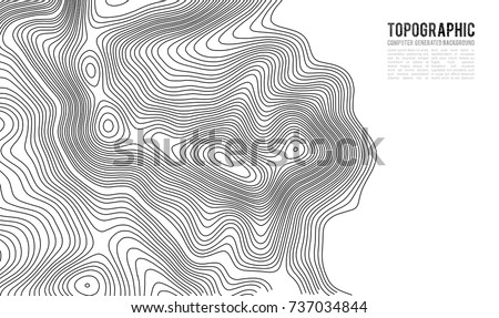 Topographic map contour background. Topo map with elevation. Contour map vector. Geographic World Topography map grid abstract vector illustration . #737034844