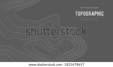 Topographic map height abstract polygonal land. Mountain topographic contour in lines and contours. Surface map of mountain future. Stripes landscape descripting data maps.  Photo stock ©