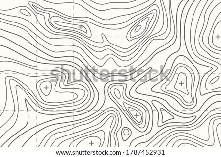 Topographic map or sheet with contours, relief, features, mountain texture and grid. Background for cartographical, topographical, geographical projects. Vector landscape illustration. Сток-фото ©
