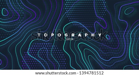 Topography relief. Abstract memphis background. Vector minimal illustration. Liquid gardients. Outline cartography landscape. Modern poster design. Trendy cover with wavy colorful lines