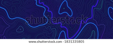 Topography relief contouring line. Geographic outlines, elevation map or ocean floor surface with cross signs. Modern landscape liquid gradient, radar readings. Vector cartography texture illustration Stock photo ©