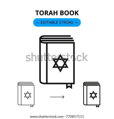 Torah book vector line icon with editable stroke