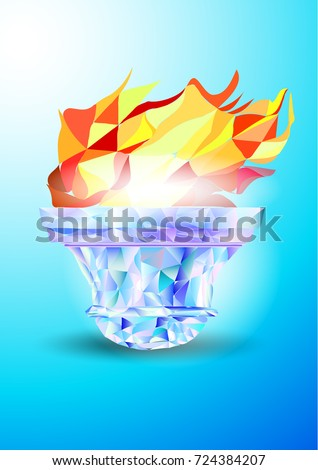 Torch, Flame. A hand from the Olympic ribbons holds the Cup with a torch on a blue background in a geometric triangle of XXIII style Olympics Winter games.