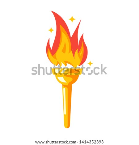 Torch icon. Fire symbol olympic games. Color flaming logo. Vector illustration flat design. Isolated on white background. Sign of sports competitions.