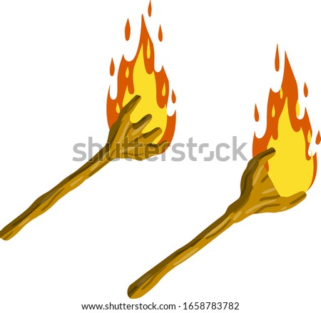 Torch on stick. Fire and branch. Primitive weapon. Burning club. Cartoon flat illustration. old item for lighting stock photo