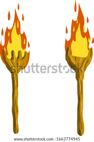 Torch on stick. Fire and branch. Primitive weapon. Cartoon flat illustration. old item for lighting. Burning club stock photo