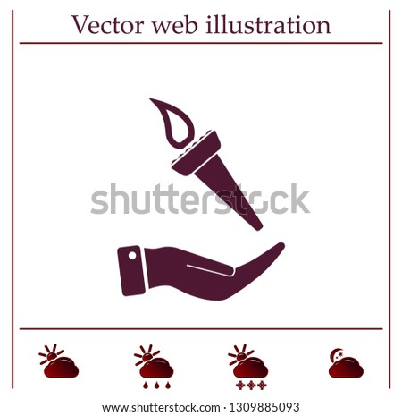 Torch on the hand. Vector icon.