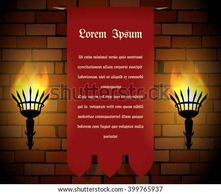torches and red banner with