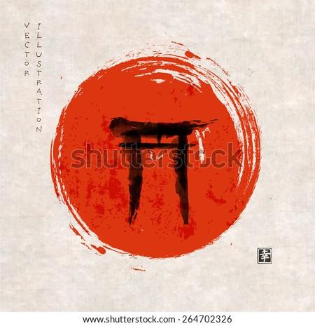 torii gates hand drawn with ink