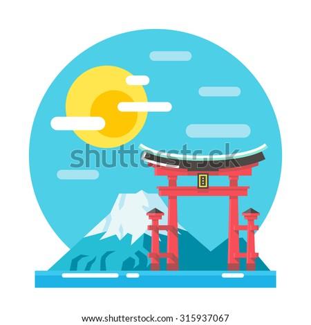 torii shrine flat design