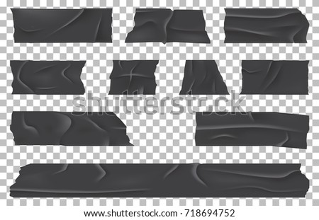 Torn adhesive bandage or ripped sticky tape on transparent. Piece of crumpled or battered rubber scotch for masking or fixing, isolating pieces. Wrinkled material. Packaging theme