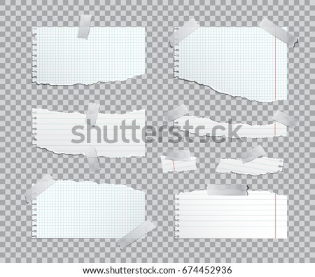Torn copybook sheets with adhesive tape. Vector illustration.
