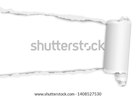 Torn elongated hole from left to right in white paper with paper curl. Vector paper mock up. Stock photo ©