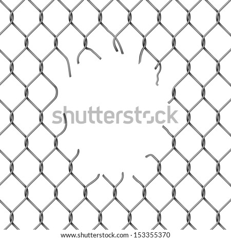 torn fence chain  vector