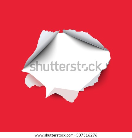 Torn hole in the sheet of red paper. Vector illustration