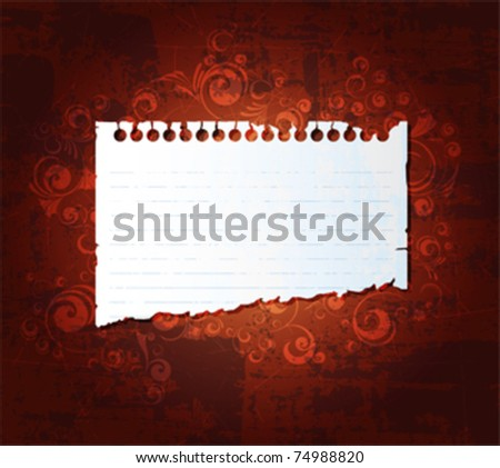 Torn notebook paper on grunge background. Eps10 vector.
