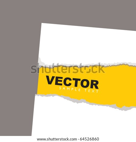 Torn paper background concept with yellow sheet and shadow