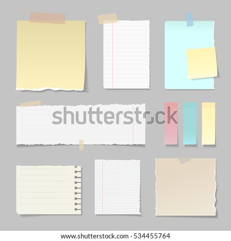 Torn paper banners lined clear vertical and horizontal set attached with sticky colorful tape isolated vector illustration