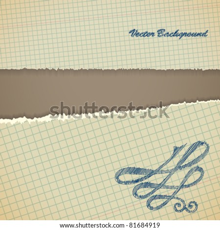 Torn paper borders with soft shadow. Vintage background.