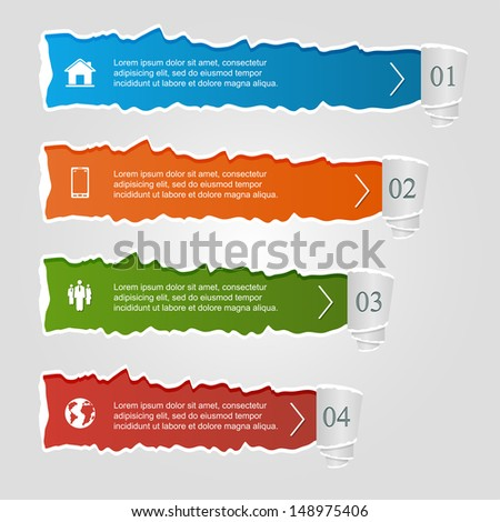 Torn paper, colored infographic banners, numbered options and icons, modern design. - stock vector